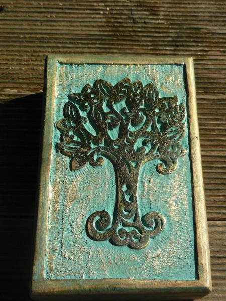 Keltischer Baum des Lebens Holzbox, Shabby-look