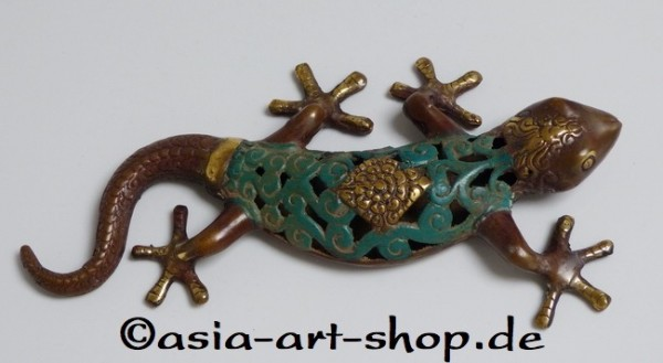 Gecko bronze, fini antique