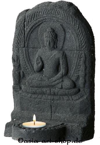Steinrelief -Buddha-Teelichthalter