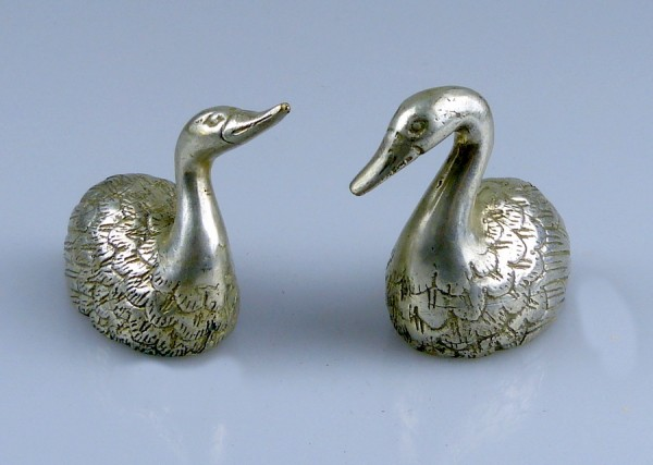 pair of swans, silvered bronze