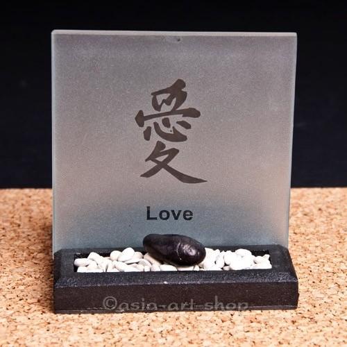 Teelicht Zengarten- Liebe, Frieden, Glück