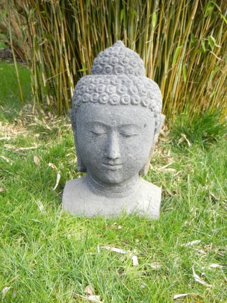 Stone Buddha head, no cast - small