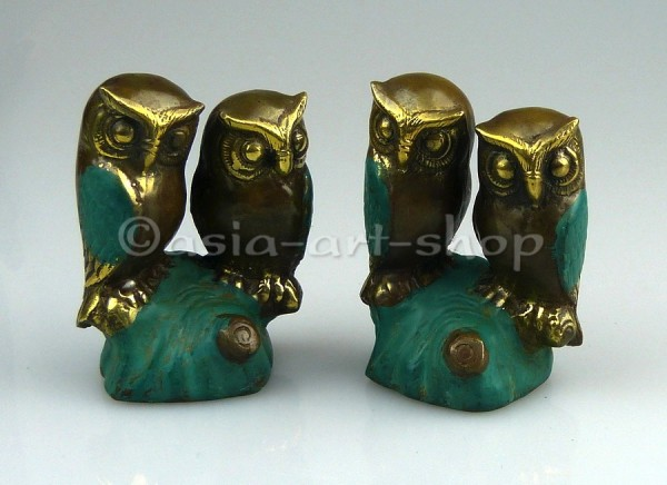 Chouette couple en bronze