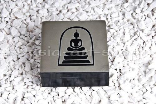 Steindose Buddha, eckig