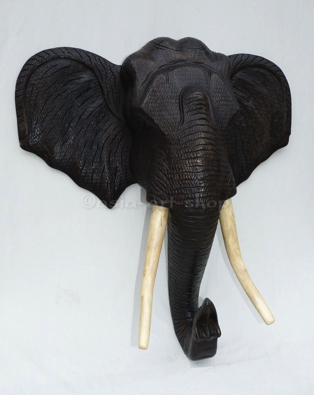 gro er elefantenkopf aus holz asia art shop. Black Bedroom Furniture Sets. Home Design Ideas